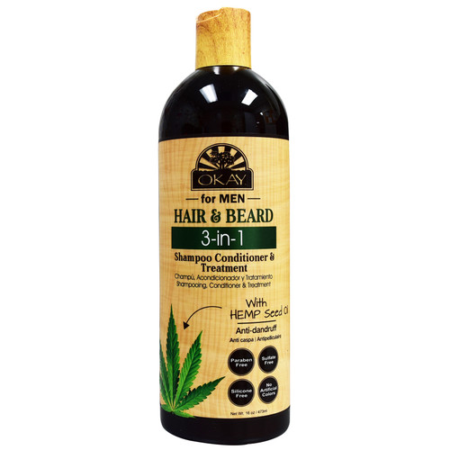 OKAY Men's Hemp Seed Oil Beard and Hair 3n1 Shampoo, Conditioner, Dandruff Treatment, Paraben, Suflate, Silicone Free, No Artificial Colors 16oz