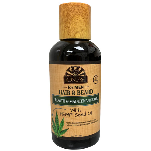 OKAY Men's Hemp Hair & Beard Growth & Maintenence Oil, With Nourishing Ingredients, Conditions Hair & Beard, Strengthens & Improves Growth, Reduces Itching, Moisturizes Skin-4oz