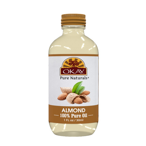 OKAY Pure Naturals Almond 100% Pure Oil-Non Comedogenic-Replenish & Hydrates Skin-Helps Repair Damaged Hair -Deep Moisturized Glow -Nourishes & Strenthens Hair Cuticle-For All Hair Textures And All Skin Types- Silicone, Paraben Free   1oz