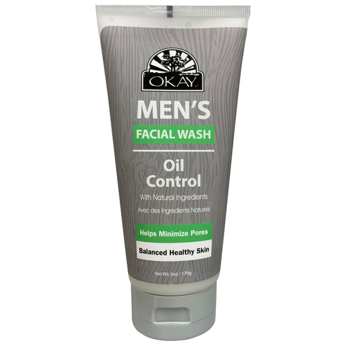 OKAY Men's Facial Wash, Oil COntrol All Natural, Helps Minimize Pores, Balanced Healthy Skin , With Natural Ingredients, 6oz