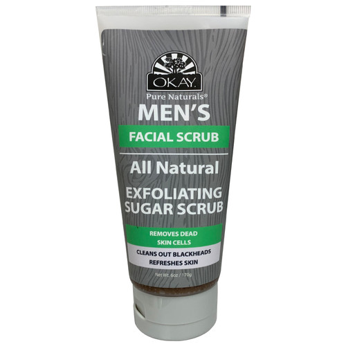 OKAY Men's Natural Exfoliating Sugar Scrub, Removes Dead Skin Cells, Cleans Out Blackheads, Refreshes Skin, Minimizes Pores, Leaves Skin Smooth & Clean, 6oz / 177ml