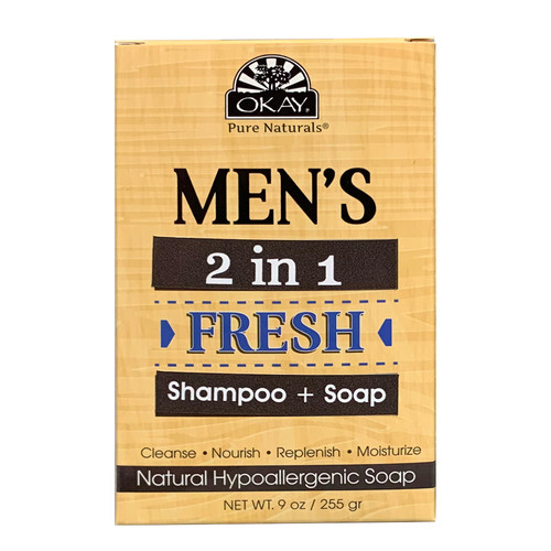OKAY Men's Shampoo + Soap- 2 in 1 Hair & Body Shampoo +Coconut Soap Bar, Natural Hypoallergenic Soap, For All Hair Textures & Skin Types, Cleanse, nourish, Replenish, Moisturize -  9 oz/255 gr