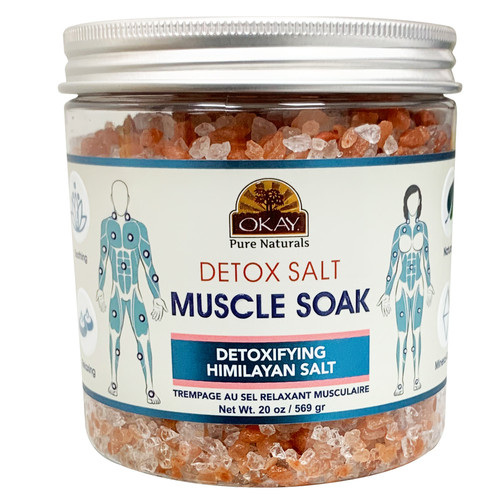 OKAY  Detox Salt Muscle Soak With Detoxifying Himalayan Salt. Natural, Mineral Rich, Soothing & Relaxing, For All Skin Types 20 oz