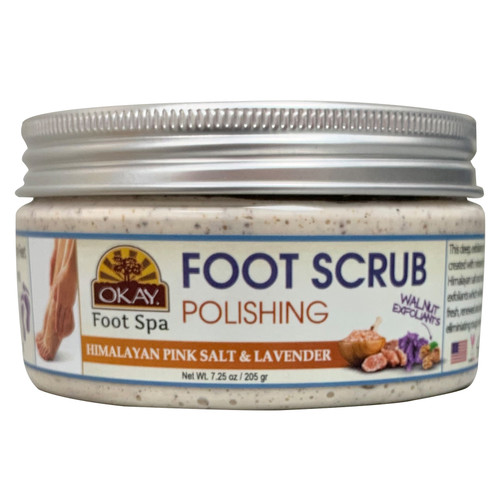 OKAY Foot Scrub Polishing Himalayan Pink Salt & Lavender, Promotes Healthy Feet, Removes Callouses, Cleanses Feet, All Natural, Walnut Exfoliant 7.25oz / 205gr