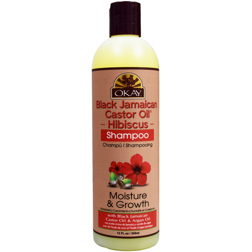 OKAY Black Jamaican Castor Oil & Hibiscus Shampoo Moisture & Growth, Helps Moisturize & Regrow Strong Healthy Hair. Sulfate, Silicone, Paraben Free For All Hair Types and Textures. Made in USA. 12.oz / 355ml