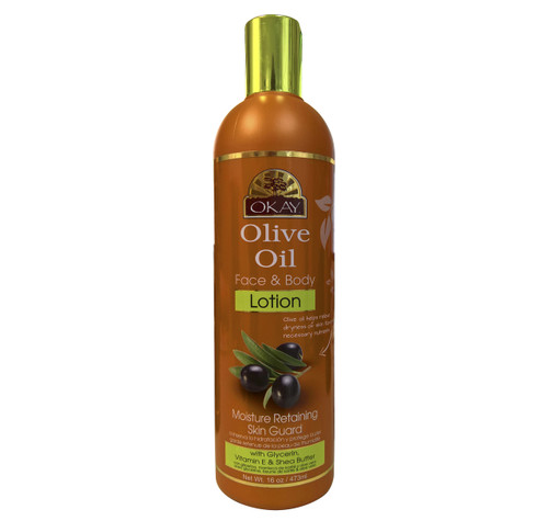 OKAY  Olive Oil Face & Body Lotion   - Instant Moisturizer- Heals Skin-  Essential For Daily Protection -Helps Restore Elasticity- Achieve Soft, & Radiant Skin- Silicone, Paraben Free For All Skin Types 16oz / 473ml