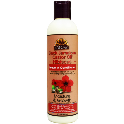 OKAY Black Jamaican Castor Oil & Hibiscus Leave In Conditioner Moisture & Growth, Helps Moisturize & Regrow Strong Healthy Hair. Sulfate, Silicone, Paraben Free For All Hair Types and Textures  12.oz / 355ml