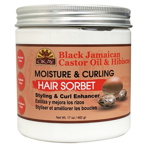 OKAY Black Jamaican Castor Oil® & Hibiscus  Curl Enhancing Hair Sorbet- For Styling & Curl Enhancing  -For Smooth, Glossy, Frizz Free, Strong & Well Defined Curls- Alcohol, Sulfate, Paraben Free- Made in USA 17 oz