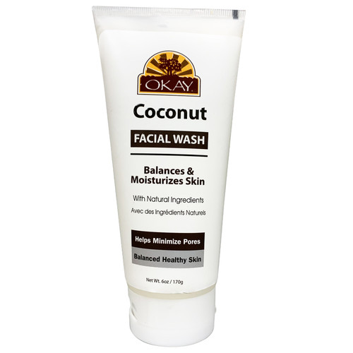 OKAY Facial Wash with Coconut Oil, Balances & Moisturizes Skin, With Natural Ingredients, Helps Minimize Pores, Balances Healthy Skin, 6oz