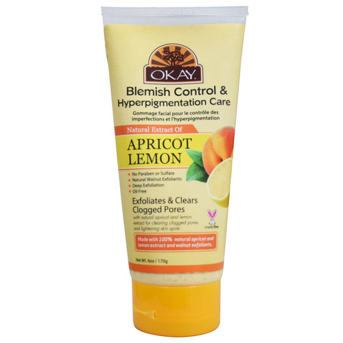 OKAY Apricot Lemon Blemish Control & Hyperpigmentation Care Facial Scrub for Deep Cleaning - Removes Dirt, & Oil- leaves Skin Freshly Cleansed, Moisturized & Energized- Minimize Pores - Alcohol, Sulfate, Paraben Free  6oz