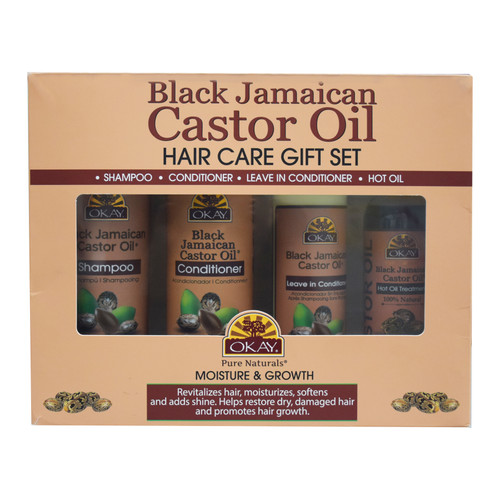 OKAY  Black Jamaican Castor Oil Moisture & Growth 4PK Gift Set- Helps Moisturize & Regrow Strong Healthy Hair - Sulfate, Silicone, Paraben Free For All Hair Types and Textures - Made in USA. 12oz / 355ml