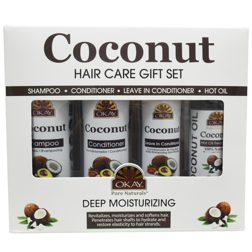 OKAY Coconut Deep Moisturizing Gift Set 4PK- Helps Replenish Moisture And Elasticity For Healthy Strong Hair - Sulfate, Silicone, Paraben Free For All Hair Types and Textures - Made in USA