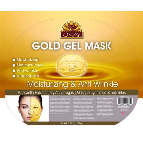OKAY Gold Gel Mask. Moisturizing, Minimizes Pores, Anti Wrinkle, Nutrient Rich, Soothe & Hydrate Skin. Helps Restore Skin Elasticity. Smooth Skin Texture. Helps To Minimize Pores.  2.47oz/ 70gr
