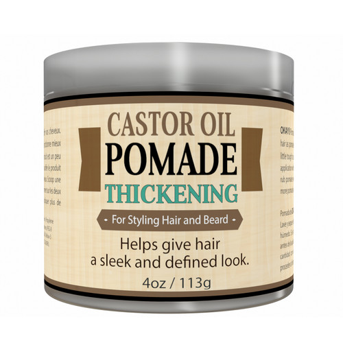 OKAY- MEN's Thickening Castor Oil Beard and Hair Pomade - For Styling Hair And Beard, All Day Hold, For A Sleek Defined Look-  Silicone, Paraben Free For All Hair Types and Textures - Made in USA 4oz