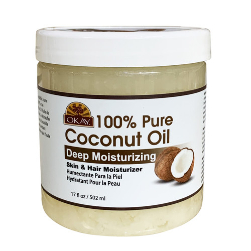 OKAY 100% Pure Coconut Oil Deep Moisturizing - Prevents Dryness & Flaking Of Skin- Softens Hair & Conditions Scalp- Great Moisturizer-- For All Hair Textures And All Skin Types  Silicone, Paraben Free  17oz / 502ml
