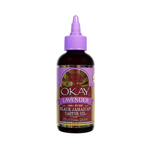 OKAY  Black Jamaican Castor Oil With Lavender-Calming Scent -Helps Soothe Scalp & Skin- Improves Blood Circulation - Helps Naturally Grow Strong Healthy Hair, Helps Balance Oily Hair, Stimulate Hair Follicles - For all Hair Types-  4oz / 118ml