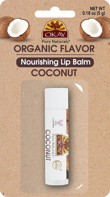 OKAY PURE NATURALS COCONUT ORGANIC FLAVORED LIP BALM BLISTER PACKED 0.15oz