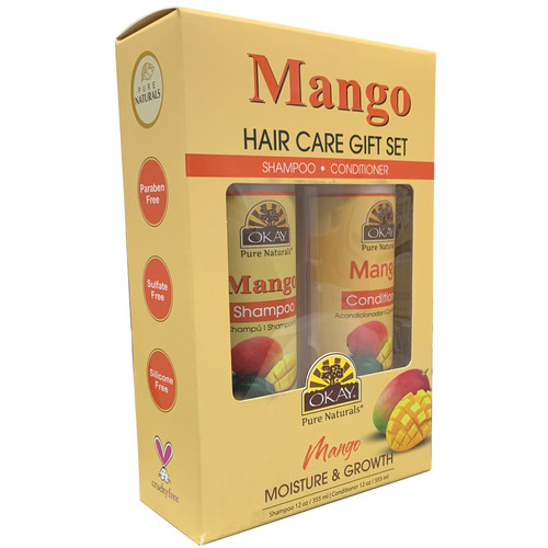 OKAY Mango Revitalizing Anti Breakage  Hair Care Gift Set 2PK-Helps Revitalize, Repair, And Restore Moisture to Hair - Sulfate, Silicone, Paraben Free For All Hair Types and Textures  - Made in USA - Set of 2 x 12oz