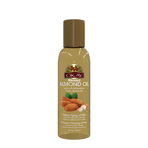 OKAY Almond Blended Oil For Skin & Hair-Prevents Thinning of Hair- Delays Aging of Skin-Thickens Hair for Long Thick Growth-Deep Moisturizing for Dry Itchy Skin-For All Hair Textures And All Skin Types- Paraben Free - 2oz / 59ml