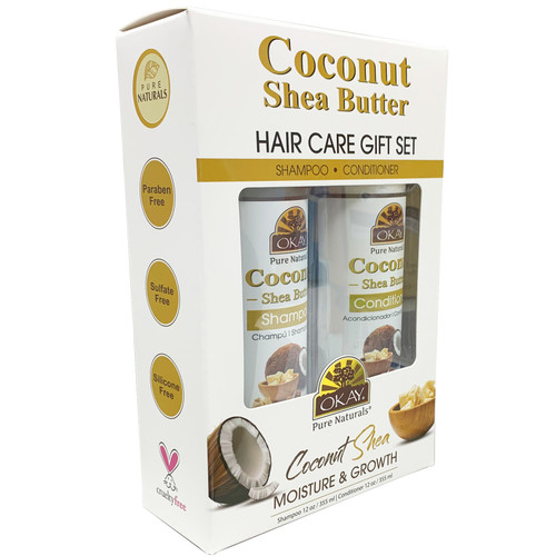 OKAY Coconut & Shea Butter Deep Moisturizing Hair Care Gift Set 2PK-Helps Moisturize, Strengthen, And Regrow Hair - Sulfate, Silicone, Paraben Free For All Hair Types and Textures- Made in USA - Set of 2 x 12oz