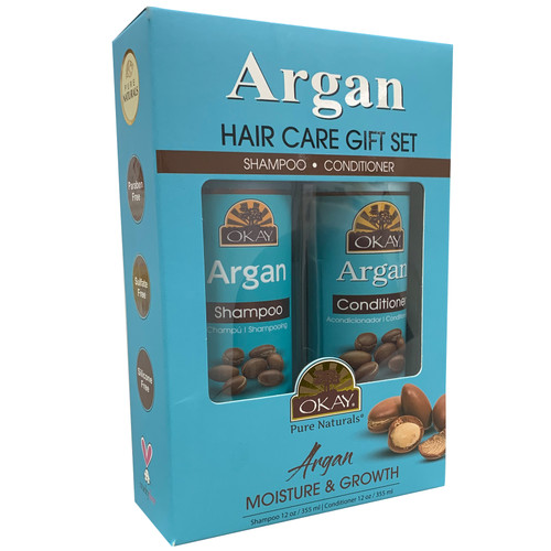 OKAY Restorative Argan Hair Care Gift Set 2PK-Helps Hydrate, Moisturize, And Soften Hair - Sulfate, Silicone, Paraben Free For All Hair Types and Textures  - Made in USA - Set of 2 x 12oz