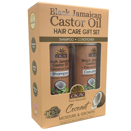 OKAY Black Jamaican Castor Oil Coconut Curls Hair Care Gift Set 2PK-Helps Moisturize, Strengthen, And Regrow Hair - Sulfate, Silicone, Paraben Free For All Hair Types and Textures- Made in USA - Set of 2 x 12oz
