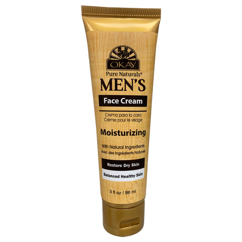 OKAY Pure Naturals Men's Face Cream, Moisturizing With Natural Ingredients, Restores Dry Skin, Balances Healthy Skin, Helps Strengthen & Moisturize Skin Infused WIth Natural Oils, For All Skin Types  3oz