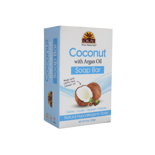 OKAY Coconut With Argan Oil Soap Bar Natural Hypoallergenic Soap- Cleanse, Nourish, Replenish, Moisturize-For All Skin Types 9oz / 255gr