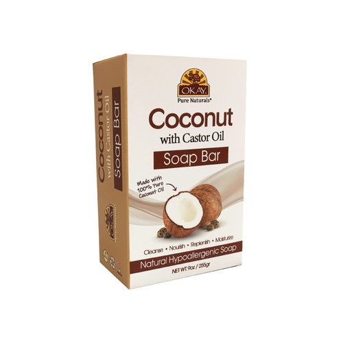 OKAY Coconut With Castor Oil Soap Bar Natural Hypoallergenic Soap- Cleanse, Nourish, Replenish, Moisturize-For All Skin Types 9oz / 255gr