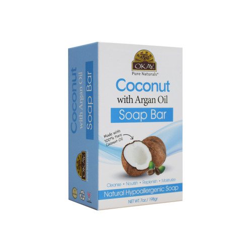 OKAY Coconut With Argan Oil Soap Bar Natural Hypoallergenic Soap- Cleanse, Nourish, Replenish, Moisturize-For All Skin Types 7oz / 198gr