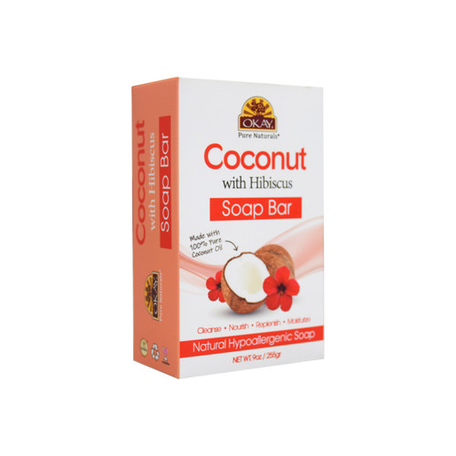 Copy of OKAY Coconut With Hibiscus Soap Bar Natural Hypoallergenic Soap- Cleanse, Nourish, Replenish, Moisturize-For All Skin Types 9oz / 255gr