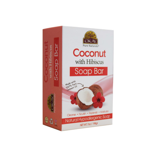 OKAY Coconut With Hibiscus Soap Bar Natural Hypoallergenic Soap- Cleanse, Nourish, Replenish, Moisturize-For All Skin Types 7oz / 198gr