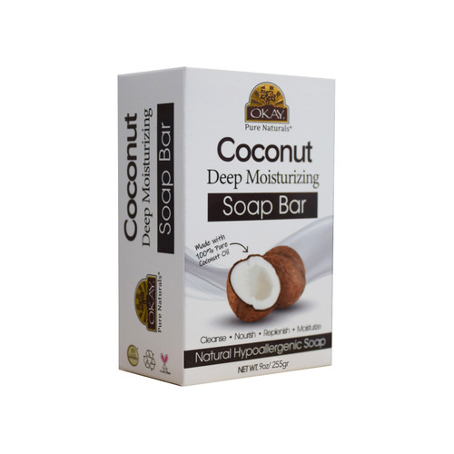 OKAY Coconut Deep Moisturizing Soap Bar Natural Hypoallergenic Soap- Cleanse, Nourish, Replenish, Moisturize-For All Skin Types 9oz / 255gr