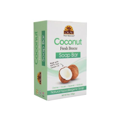 OKAY Coconut Fresh Breeze Soap Bar Natural Hypoallergenic Soap- Cleanse, Nourish, Replenish, Moisturize-For All Skin Types 9oz / 255gr