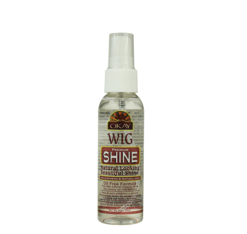 """Wig Shine Premium for All For Synthetic & Natural Hair """"Oil Free""""- For Natural Beautiful Shine- Helps Keep Hair Easy To Manage- Paraben Free For All Hair Types and Textures - Made in USA - 2oz / 59ml"""