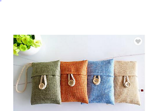 Bamboo Charcoal Air Freshener and Odor Eliminator Bag - 4 Pieces (Green, Orange, Beige & Blue )