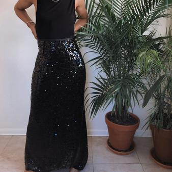 Calvin Klein Sequin Black Maxi Skirt