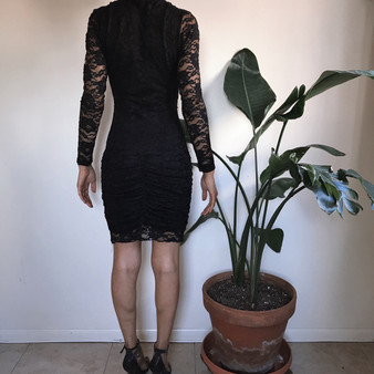 Exotica Black V neck Lace Dress