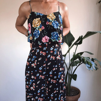 ASOS Black Floral Wide Leg Jumpsuit