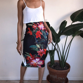BISOU BISOU Floral Pencil Skirt