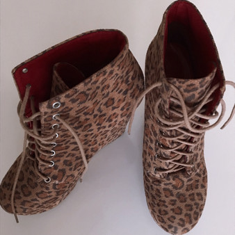 Forever 21 Leopard Print Wedge Boots