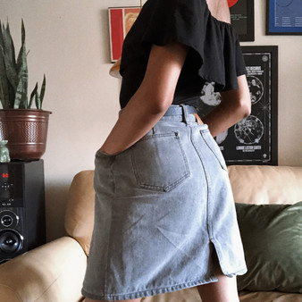 Spectrum Gray Washed Jean Skirt