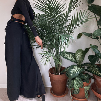 Veronique Young Black Layered Palazzo Pants