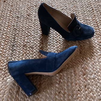 Marc Fisher Buckle Blue Suede Heeled Loafer