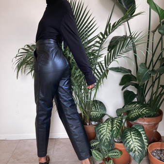Black Genuine Leather Pants