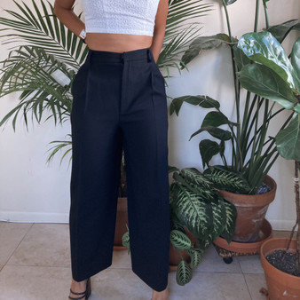 Linda Allard Ellen Tracy Petite High Waist Wide Leg Trousers