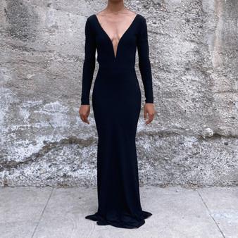 Glitter Black Long Sleeve Backless Maxi Dress