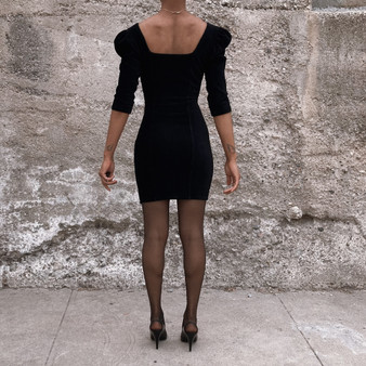 Bershka corduroy zip detail dress in black