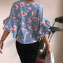 SHEIN Floral Ruffle Sleeve Top