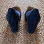 Marc Fisher Buckle Blue Suede Heeled Loafer